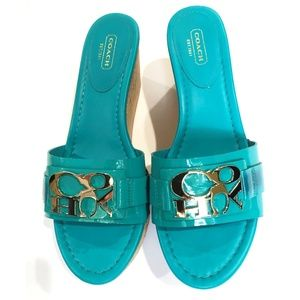 Gorgeous Turquoise Coach Wedge Sandals NWOT 8-1/2